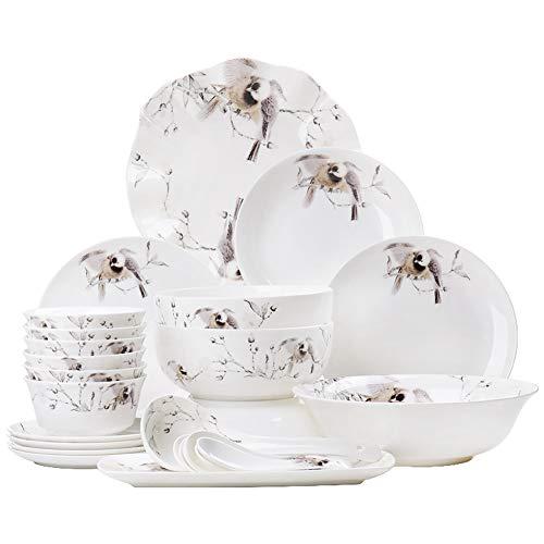 DGYAXIN Juego de vajilla 28 Piezas de Porcelana Estilo Chino Pintado a Mano con Flores y pájaros con Plato de Cena Tazón de Cuchara Adecuado para 6 Personas