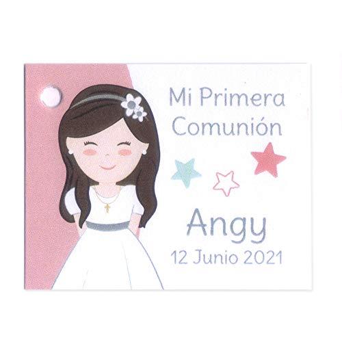 Etiquetas personalizadas para detalles de Primera Comunión niña, con estrellitas, y diferentes color de pelo. Pack 25 udes. NAC011