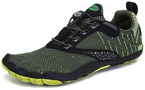 Barefoot Zapatillas Hombre Minimalistas Zapatillas Trail Antideslizante Zapatos Minimalistas Five Fingers Verde 43 EU