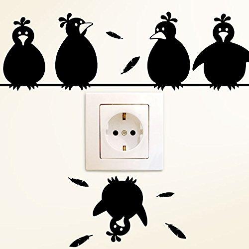 Wandora Wandtattoo Schaltertattoo Lustige Vögel I schwarz (BxH) 30 x 19 cm I Wohnzimmer Kinderzimmer Sticker Aufkleber Wandsticker Wandaufkleber G127