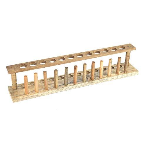 Soporte para tubos de ensayo Ladieshow, estante para tubos de ensayo de madera, herramienta de laboratorio química resistente y resistente a la corrosión(12 holes)