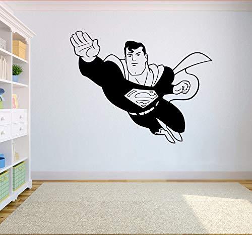 Decoración Para El Hogar Superman Etiqueta De La Pared Extraíble Superhéroe Volando Vinilo Tatuajes De Pared Habitación De Los Niños Mural De La Pared Decoración Para El Hogar Interior 57X45 Cm