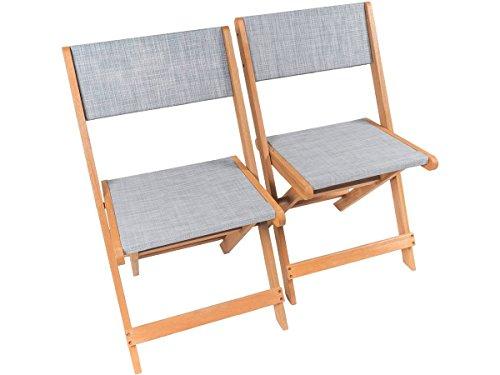 Klappstuhl aus exotischem Holz Seoul - Maple - Grau - 2er-Set