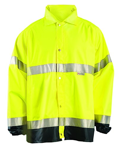 OccuNomix LUX-TJR-YS Premium Breathable Waterproof Rain Jacket, Classic Length, Class 3, Yellow, Small