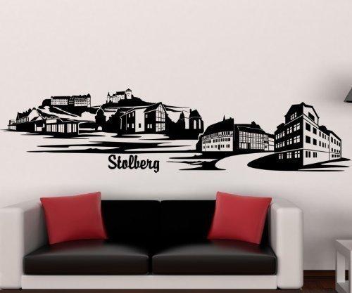 Wandtattoo Stolberg Skyline XXL Aufkleber Wand Sticker Deko Deutschland 1M192, Farbe:Flieder glanz;Größe ( Länge):200 cm
