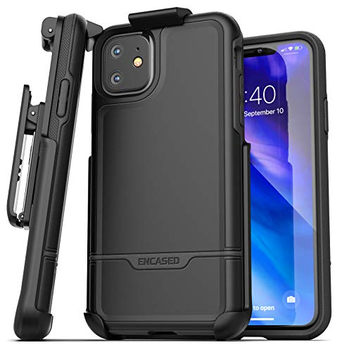 Encased iPhone 11 Belt Clip Holster Case (2019 Rebel Armor) Heavy Duty Rugged Full Body Protective Cover with Holder (Black)