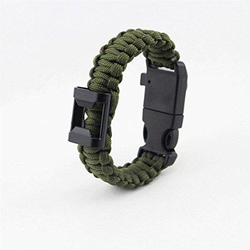 Kit bracelet d'urgence, corde de parachute, Fire Starter, boussole, outil de coupe, pêche de survie sifflet Gear, fil, compresse désinfectante, boucle de verrouillage de Décapsuleur, 6