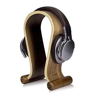 kalibri Wooden Omega Headphone Stand - Universal Headset Wood Hanger - Holder for Gaming Headsets DJ Studio Headphones & Earphone Display - Walnut by Kw-commerce