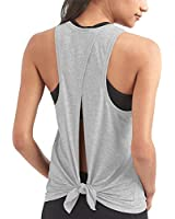 Mippo Workout Tops for Women Cute Open Back Yoga Tops Loose Fit Athletic Racerback Tank Tops High Neck Tank Top Gym Tops Workout Clothes Fashion for Women 2020 Heather Gray M