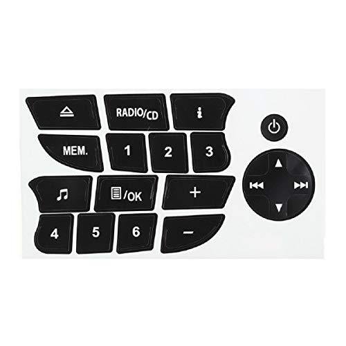BAAQII 1 foglio di ricambio per CD audio con decalcomanie per la riparazione dei pulsanti di opzione Adesivi per Renault Clio/Megane 09-11