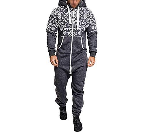 Eghunooye Männer Jumpsuit Overall Lange Jogginganzug Onesie Anzug Sportanzug mit Reißverschluss und Kapuze Winter Trainingsanzug M L XL XXL XXXL (Grau, XXL)