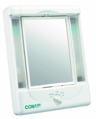 Conair Two-Sided Lighted Makeup Mirror with 4 Light Settings; 1x/5x Magnification; White