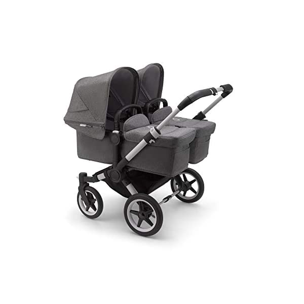 Bugaboo Donkey 3 Twin Extention Set Complete - converts Single into Twin Side by Side pram and Pushchair, Foldable Lightweight Stroller with Grey mélange Sun Canopy and Aluminium Chassis Bugaboo Grows with your family: With two children to think about, the Mono single pushchair converts to a Twin pram or Duo carrycot and pushchair with separately available extension sets Smaller than you think: Expands to just 74 cm wide in Duo or Twin mode fitting standard doorways, folds to carry, extra storage space and durable materials, the only pushchair your family will need Lightens your ride: Easy to manoeuvre with 1 hand steering, large tires ensure a safe, smooth ride on all terrain even if fully loaded, it can hold up to 22 kg making it suitable from birth to toddler 1