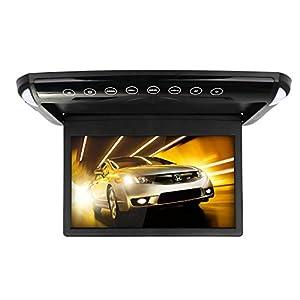 MiCarBa Monitor de Techo de Coche, 1080P HD Ultra Delgado 10,1 Pulgadas IPS Pantalla Flip Down Multimedia Monitor con FM SD USB (CL1008BL)