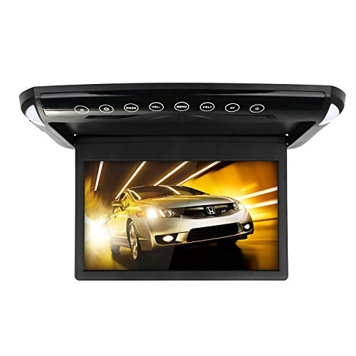 MiCarBa Autodachmonitor 1080P HD Ultradünner 10,1 Zoll IPS-Bildschirm Flip Down Multimedia-Monitor mit HDMI FM SD USB MP3 MP4 (1008BL)