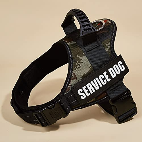 Mudinpet Service Hundegeschirr Weste, No Pull Hundegeschirr für Welpen Kleine Mittelgroße Hunde, Hundetraining Keine Flucht Verstellbare Reflexionsweste