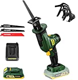 """POPOMAN 20V Cordless Reciprocating Saw, 2800 SPM, 4/5""""(20mm) Stroke Length, 2.0Ah Battery & Fast Charger, Variable Speed, 3 Saw Blades for Metal & Wood Cutting - PMRS01D"""