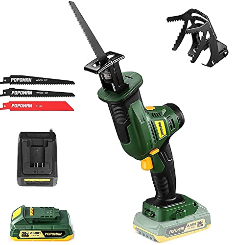 POPOMAN 20V Cordless Reciprocating Saw, 2800 SPM, 4/5'(20mm) Stroke Length, 2.0Ah Battery & Fast Charger, Variable Speed, 3 Saw Blades for Metal & Wood Cutting - PMRS01D