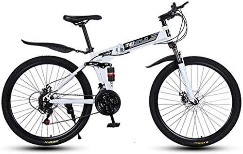MAMINGBO 26in 24 de Velocidad de Bicicletas de montaña de Edad, Estructura de suspensión de Aluminio Ligero Completo, Suspensión Tenedor, Freno de Disco, Blanco