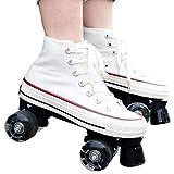 XJBHD Adultos 4 Ruedas Patines en Línea de Fibra de Carbono,una Hilera Zapatos de Patinaje de Velocidad para Principiantes Deportes Fitness para Hombres y Mujeres Patines de Ruedas white-40