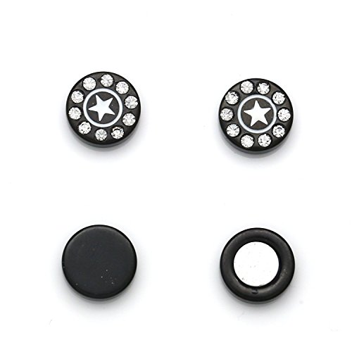 Idin sieraden zwart kristal rond ster oorbellen Omegaclip zonder gaatjes magnetisch