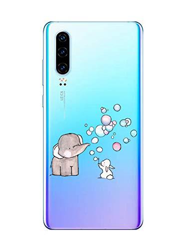 Oihxse Compatible pour Huawei Nova 5z Coque [Mignon Transparente Éléphant Lapin Motif Séries] Housse TPU Souple Protection Étui Ultra Mince Anti Choc Animal Case (A7)