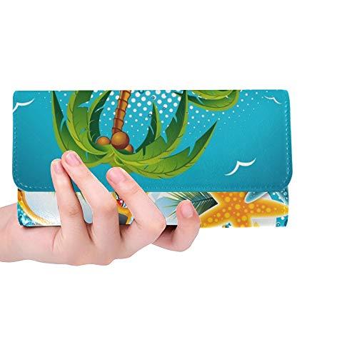 Diseño de folleto de Fiesta de Playa de Verano Personalizado único, Cartera Triple, Monedero Largo, Tarjetero, Estuche para Tarjeta de crédito