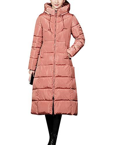 Mit Kapuze Jacke Gesteppt Mantel Reißverschluss Überzieher - Winter Warm Lange Abschnitte Ultraleicht Solide Outwear Winddicht Bohnen M