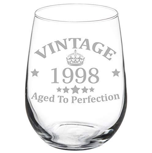 Weinglas Stiellos Laser geätzt 21. Geburtstag Vintage Aged To Perfection 1998–312 ml