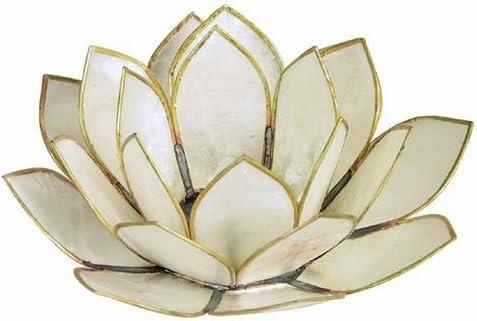 "World Buyers Capiz Tea Light Holder, Three Rings of Translucent capiz Shell Petals-Flickering Light Decor Measures 5"" Dia (White)"