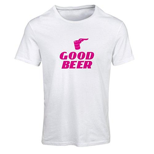 lepni.me Frauen T-Shirt Ich Brauche EIN gutes Bier, Geschenk für Bierliebhaber Partykleidung (Small Weiß Magenta)