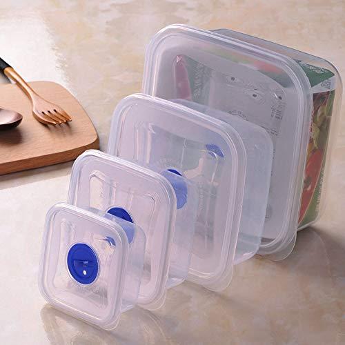 Contenedores de almacenamiento de plástico,contenedores de almacenamiento de refrigerador,cajas de almacenamiento de refrigerador apilables para refrigeradores,cocinas,encimeras, gabinetes.(4 piezas)