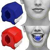 Jawline Trainer, Jaw Exerciser, Jaw Trainer, Kiefer Training, Gesichtsstraffer, Kieferformer, Definieren Sie Ihren Kinnüber, Geeignet für Männer und Frauen(Blau Rot)