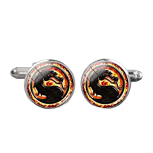 Gemelos de dragón chino hechos a mano redondo brazalete de cristal cúpula camisa joyería vintage gemelos para hombre