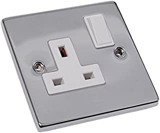 Merriway BH02700 Switched Socket 13 Amp 1-Gang - Polished Chrome