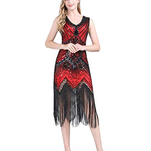 ChYoung Abito da Sera a Cocktail in V e Paillettes per Donna Senza Manches a Frange Flapper Party Dance Dress