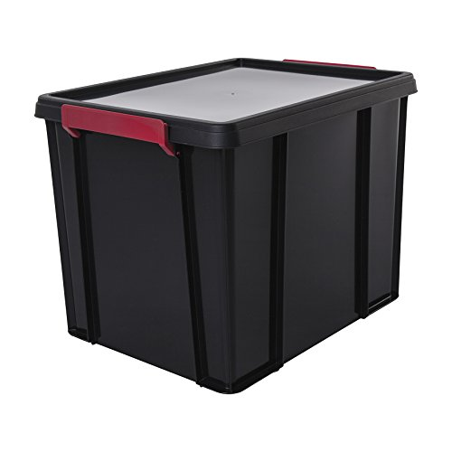 Amazon Basics Aufbewahrungsboxen Multi Box, Plastik, schwarz, 38 Liter