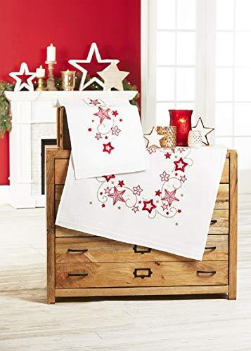 Kamaca Stickpackung Sternen - ZAUBER Tischdecke 80x80 cm Stielstich Spannstich Plattstich vorgezeichnet Baumwolle komplettes Stickset mit Stickvorlage Weihnachten