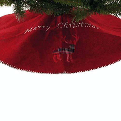 Festive Productions P013631 - Gonna per albero di Natale, in feltro rosso con renna scozzese, 90 cm