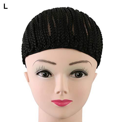 Bonnet de perruque cornrow - Facile à coudre - Noir - Réglable - Crochet - Pour femme et fille - Taille L
