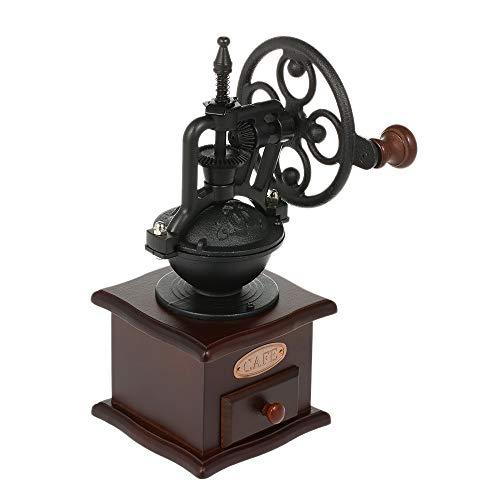 Blusea Manuelle Kaffeemühle Antike Kaffeemühle Gusseisen Handkurbel mit Schleifen Einstellungen & Fangfach (Black)