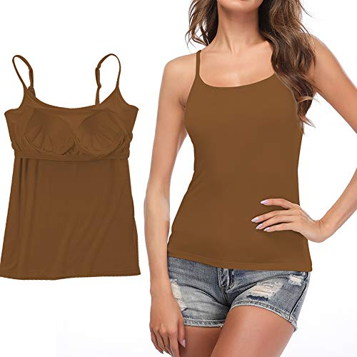 STARBILD Damen BH-Hemd Unterhemd Spaghettiträger Top Verstellbarem Spaghettiträger Komfortable Gepolsterte Unterhemd für Den Täglichen Gebrauch, Braun XL
