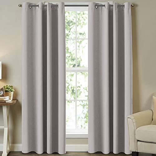 Cortinas opacas con aislamiento térmico de alta calidad para recámara/sala de estar, cortinas opacas con ojales en la parte superior, 2 paneles, 132 x 213 cm, color gris pardo