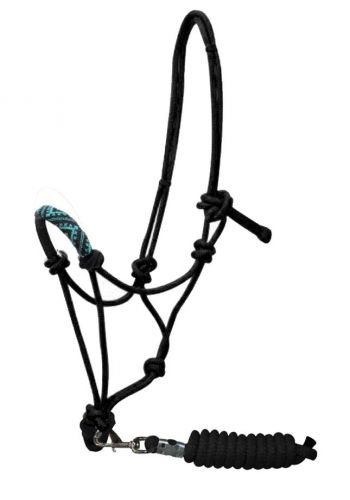 Showman Black Nylon Cowboy Knot Rope Halter with Teal Beaded Noseband