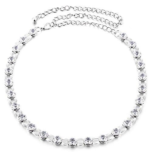 MagiDeal Damen Schmaler Gürtel Strass Taillengürtel Metall Hüftgürtel Kleider Zubehör - Silber, 120CM