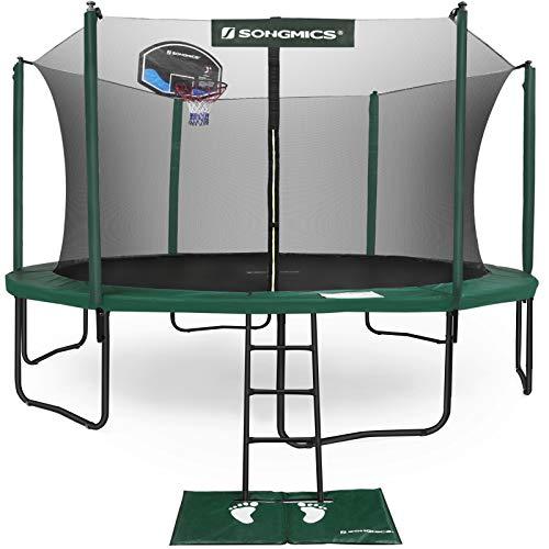 SONGMICS 15-Foot Trampoline with Enclosure Net, Basketball Hoop, Jumping Mat, Safety Pad, Ladder, Outdoor Backyard Trampolines, Green USTR15GN