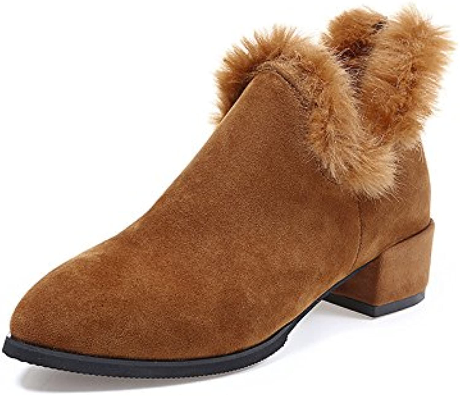 WYMBS Women's shoes Female Boots Autumn Winter Pointed Rough England Suede Plush Zipper,Brown,38