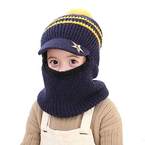 Wxllzlife Kids Winter Hat Baby Boys Knit Hat Baby Girls Thick Scarf Earflap Hood Scarves Skull Caps 2-7 Years Dark Blue