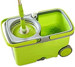 Asdfnfa Mop, Hands-Free Household Wet and Dry Mop Bucket Lazy Mop, Telescopic Rod, Mop Bucket Size: 49.5x32x30cm