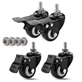 MySit 4pcs Stem Casters with Brake 3/8'-16x1'| 2' Rubber Swivel Castor Wheel, Threaded Stem Bolt with Nuts Lock for Carts Furniture Dolly Workbench Trolley(CasterBrake50_1025EN)